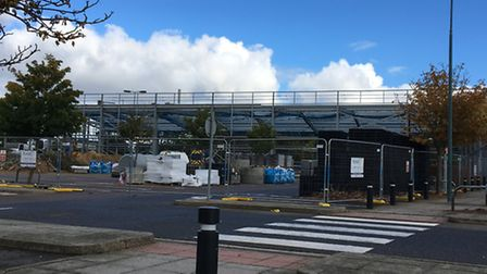 The new Aldi store takes shape at the retail park in Hall Road. Pic: Dan Grimmer.