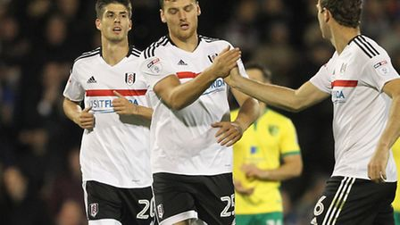 Chris Martin celebrates scoring Fulham's equaliser in a 2-2 draw with his former club Norwich City a