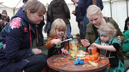 Lantern-making workshops at the Real Halloween event at Holt Hall. Picture: KAREN BETHELL