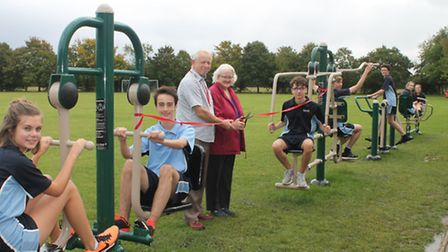 Michael and Pat Grigg open the new outdoor gym at Stradbroke High School. Picture: Stradbroke High S