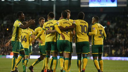 The Norwich City players celebrate Graham Dorrans' first penalty. Picture: Paul Chesterton/Focus Ima