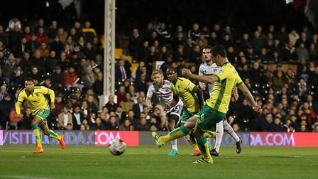 Graham Dorrans scored two first-half penalties for Norwich City at Fulham. Picture by Paul Chesterto