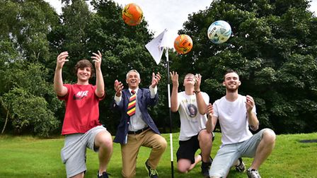 Footgolf opening at Mousehold pitch and putt course back in August. Cllr Roger Ryan with Alex Meeken
