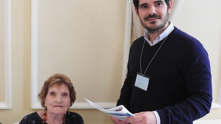 Sheila Nursey, 90, with research student Juan Nunez, who is researching Paget's Disease.