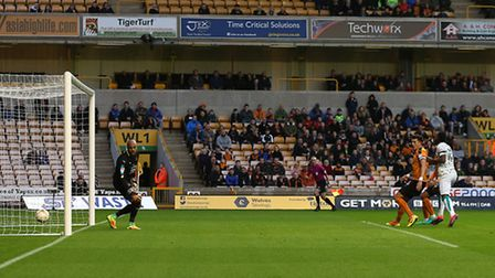 Norwich City striker Cameron Jerome's header wrong-foots Wolves' keeper Carl Ikeme. Picture by Paul