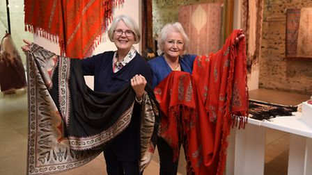 The Norwich Shawls exhibition at the Hostry. Joy Evitt, left, chairman of the Costume and Textile As
