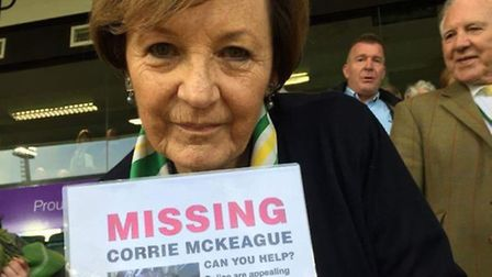 Delia Smith with a poster appealing for information about Corrie McKeague. Photo: Sarah Tali Blewden