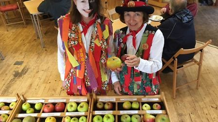 Faye Jackson, left, and Sally Jarvis from Kenninghall Morris at the apple day and autumn plant sale