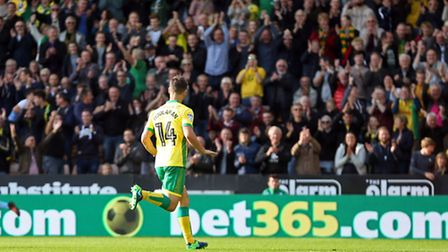 Carrow Road laps up Wes Hoolahan, as the Norwich City forward celebrates scoring a superb opening go