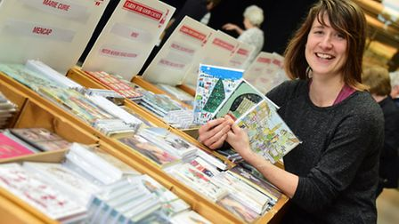 Helen Dingle, shop manager, at the charity Christmas cards shop at the Forum. Picture: DENISE BRADLE