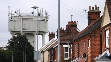 Mobile phone masts on the water tower on Norwich Road, North Walsham.PHOTO: ANTONY KELLY