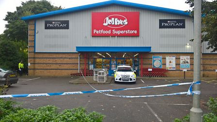 Police on the scene at Jollyes pet food superstore in Dereham.