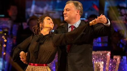 Ed Balls with dance partner Katya Jones during his first dance on Strictly Come Dancing. Guy Levy/B