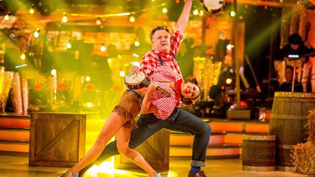 Ed Balls with his dance partner Katya Jones during Saturday's live edition of the BBC1 show, Strict