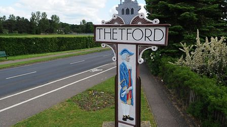 Thetford Town sign on London Road Photograph Simon Parker