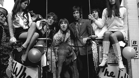 The Who in 1968, pictured with Eli, the baby elephant, and models Nicola Austine (left) and Toni Lee