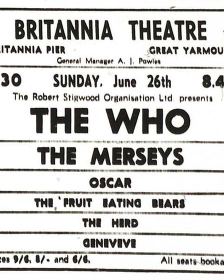 Advert in the Yarmouth Mercury for The Who playing at the Britannia Theatre. Date: 24 Jun 1966.