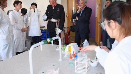 The Lord Lieutenant, Richard Jewson, visits the biology lab at INTO UEA, during his visit to present