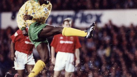 Ruel Fox in full flight for Norwich City against Manchester United. Picture: Archant Library