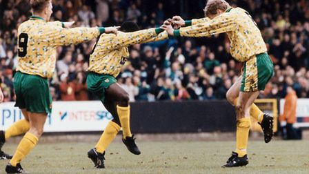 Ruel Fox celebrates after scoring for the Canaries.