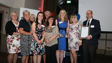 Staff from Ludham and Stalham Green Surgeries with their Best Practice Team award (left to right): S