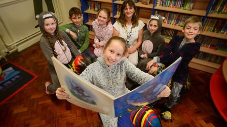 The official opening of the new look library at Eastgate Academy in King's Lynn. Pictured are pupils