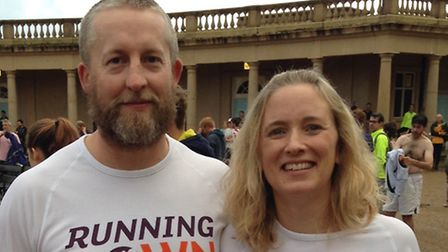Cheryl Herrieven with husband James in Eaton Park. Picture: via ALZHEIMER'S RESEARCH UK