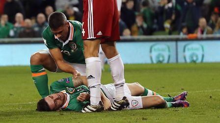 Republic of Ireland's Robbie Brady was stretchered off after a clash of heads in the Republic of Ire