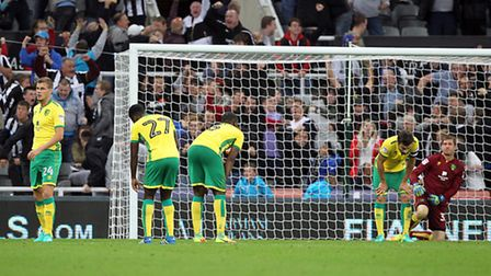 The Norwich City players look dejected as Dwight Gayle celebrates scoring Newcastle United's fourth