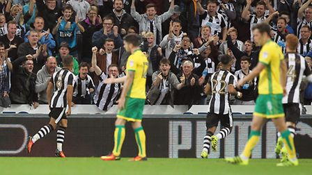 Dwight Gayle was the scourge of Norwich City in Newcastle's 4-3 Championship win. Picture by Paul Ch
