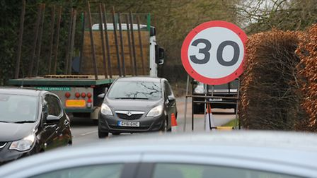 Speed limts in Horsford, near where work has been taking place to pave the way for the NDR. Photo :