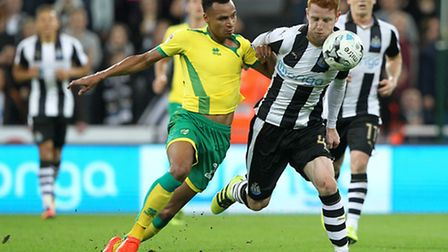 Jacob Murphy battles with Newcastle's Jack Colback during the midweek defeat. Picture: Paul Chestert