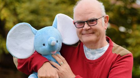 Michael Rose with the Dementia Friendly Dereham mascot elephant, to be named by the children of Dere