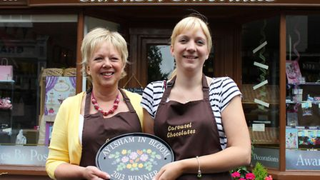 Mother and daughter Aylsham In Bloom winners June Norman and Sarah Norman-Miller of Carousel Chocola