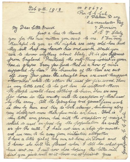 The letter, written by Private Ernest George Gale, is dated February 1918. Picture: SHERINGHAM MUSEU