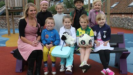 Northrepps Primary School Oak class teacher Kate MacMillan and her pupils, who came to school dresse