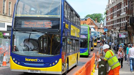Long line of buses on Red Lion Street, Norwich during roadworks. Photo : Steve Adams