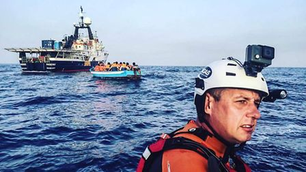 Paul Chamberlain during his volunteering with MOAS to help rescue migrants in the Mediterranean Sea,