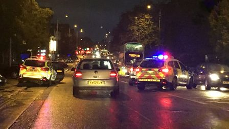 A crash in Queens Road, which contributed to jams in Norwich city centre. Pic: Archant