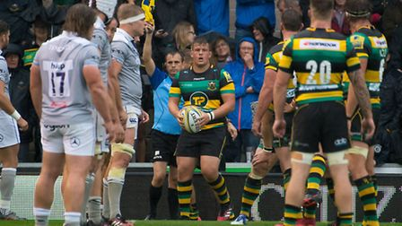 Charlie Clare in action for Northampton Saints against Bath at Franklin's Gardens in September 2016.