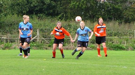 action from Bungay Town Ladies 10-1 win over Ipswich Phoenix in the Suffolk Womens County Cup. Pictu