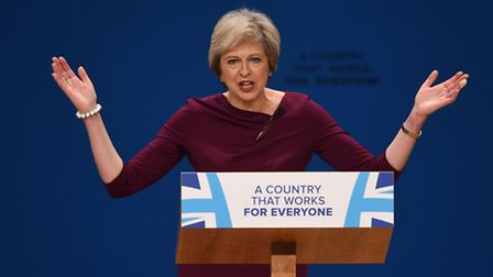 Prime Minister Theresa May gives her keynote address on the fourth day of the Conservative party con