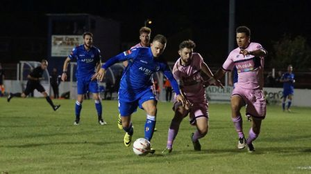 Jake Reed for Lowestoft Town on the attack. Picture: Shirley D Whitlow