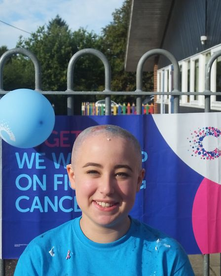 Genna Newman after her charity head shave. Picture: KAO JUTTICHOT