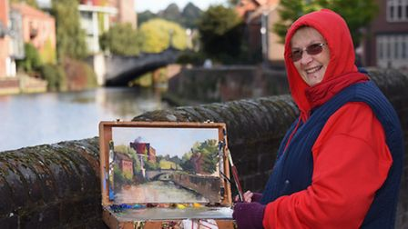 Artist Sue Willmer at work painting Whitefriars Bridge during the Norwich Paint Out. Picture: DENISE
