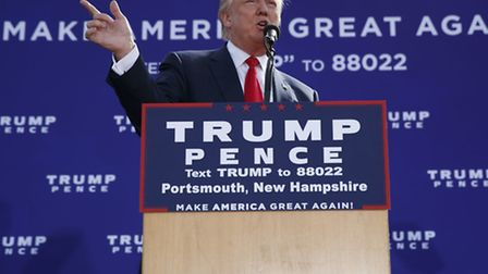 Republican presidential candidate Donald Trump speaks during a campaign rally, Saturday, Oct. 15, 20