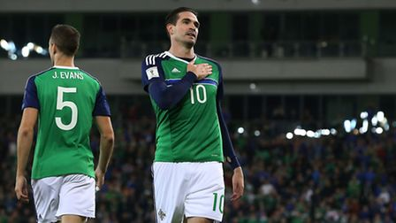 Northern Ireland's Kyle Lafferty was on target in his country's 2018 World Cup qualifying win over S