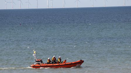 Sheringham lifeboat patrols the coast. Picture: ALLY McGILVRAY