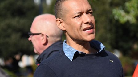MP Clive Lewis chats to protesters at the rally against the closure of Yarmouth's Walk-In Centre at