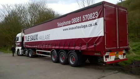 One of the fictitious Le Saux lorries, with curtains supplied by Cromer's Structure-flex, which appe